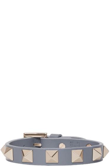 Valentino - Grey Leather Rockstud Bracelet