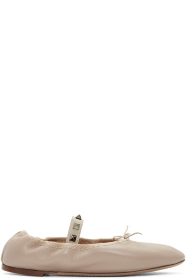 Valentino - Beige Rockstud Ballerina Flats