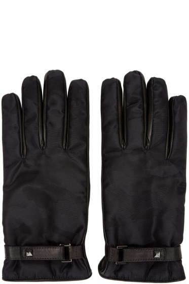 Valentino - Black Nylon & Leather Camo Gloves