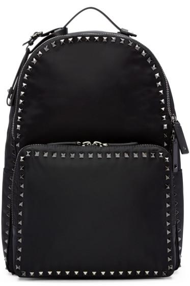 Valentino - Black Nylon Rockstud Backpack