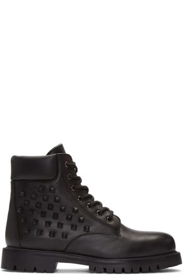 Valentino - Black Rockstud Combat Boots
