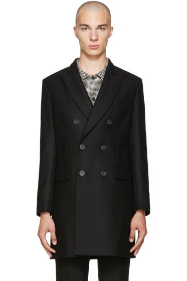 AMI Alexandre Mattiussi - Black Wool Double-Breasted Coat