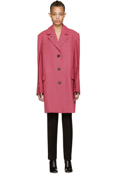 Yang Li - Pink Houndstooth Reconstructed Coat
