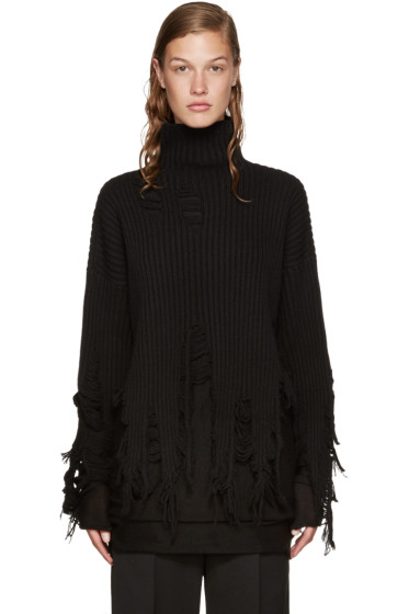 Yang Li - Black Wool Peeling Turtleneck