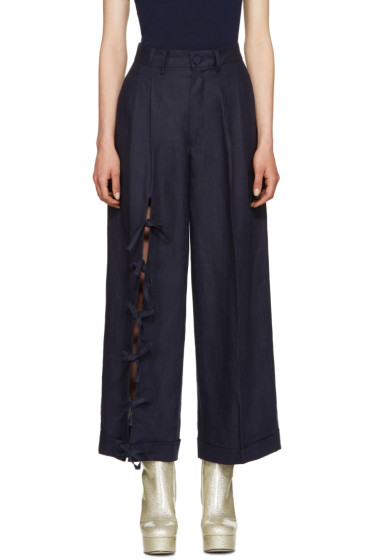 Facetasm - Navy Linen Tie Trousers