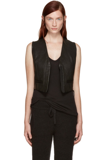 Haider Ackermann - Black Leather Miza Waistcoat