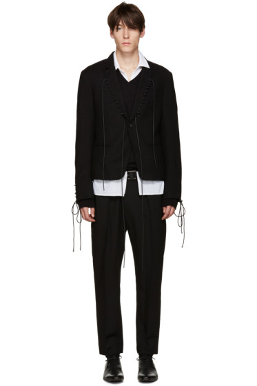 Haider Ackermann - Black Lace-Up Blazer
