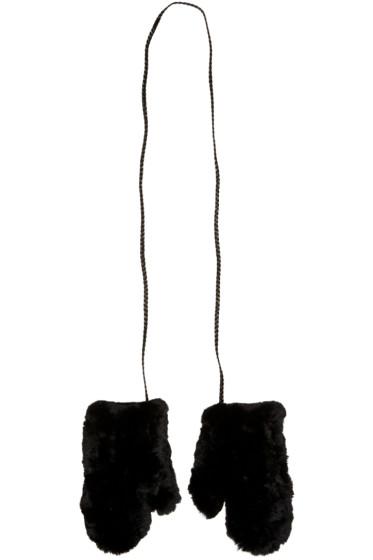 Yves Salomon - Black Rabbit Fur Mittens