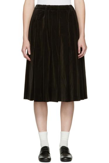 Comme des Garçons Comme des Garçons - Black Pleated Velvet Skirt