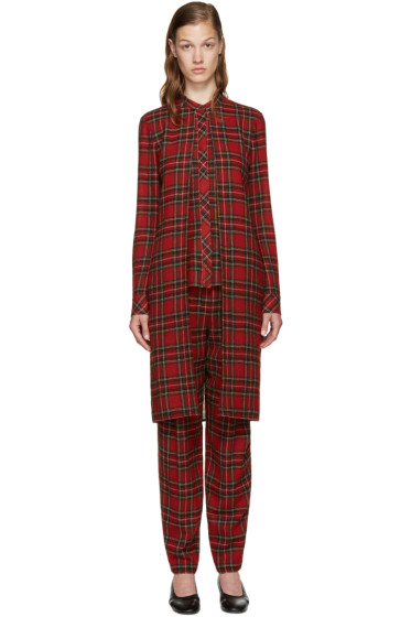 Rosetta Getty - Red Tartan Split Front Shirt