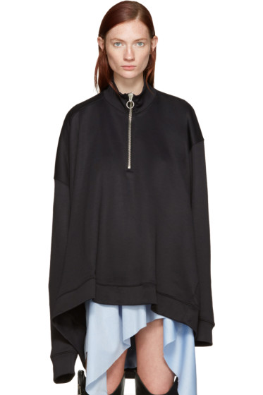 Marques Almeida - Black Oversized Zip Pullover