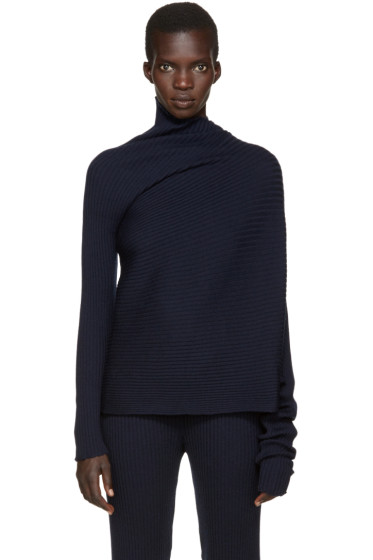 Marques Almeida - Navy Wool Asymmetric Turtleneck