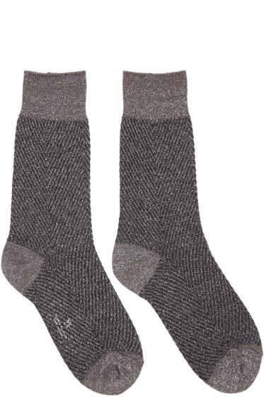 Y's - Grey Metallic Herringbone Socks