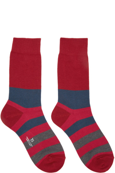 Y's - Red Striped Border Socks