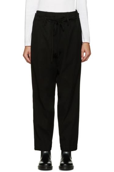 Y's - Black Layered U-Bottom Trousers
