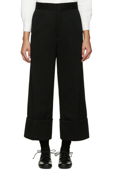 Y's - Black Wide-Leg Chino Trousers