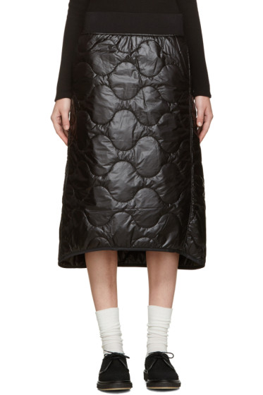 Hyke - Black Quilted Nylon Miniskirt