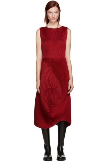 Issey Miyake - Red Pleated Dress