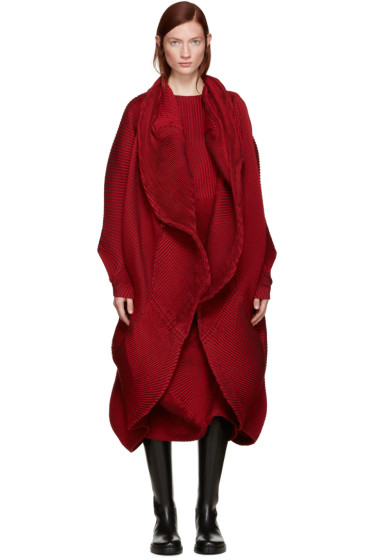 Issey Miyake - Red Pleated Coat