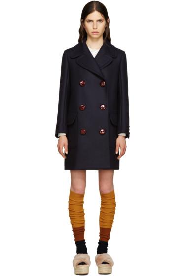 Miu Miu - Navy Wool Oversized Peacoat