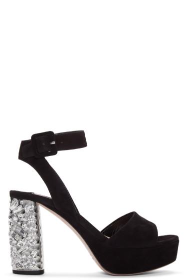 Miu Miu - Black Suede & Crystal Sandals