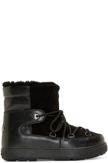 Moncler - Black Shearling Fanny Ankle Boots