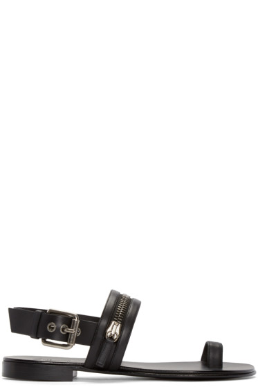 Giuseppe Zanotti - Black Leather Zipper Sandals