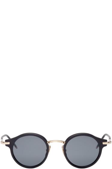Thom Browne - Black & Gold Round Sunglasses