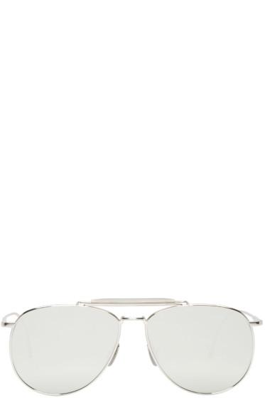 Thom Browne - Silver Mirrored Aviator Sunglasses
