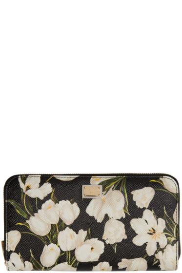 Dolce & Gabbana - Black & White Tulip Zip Wallet