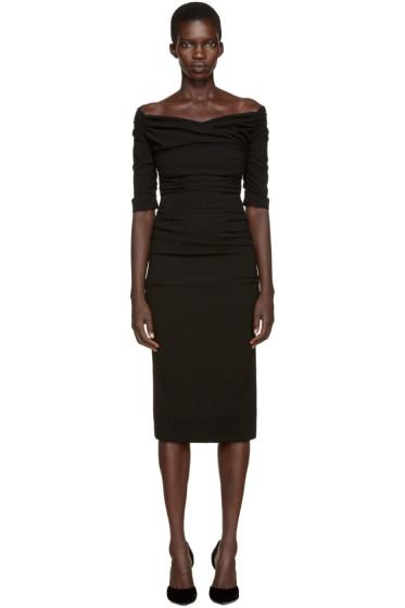 Dolce & Gabbana - Black Ruched Crepe Dress