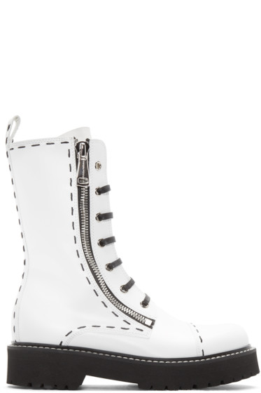 Dolce & Gabbana - White Leather Combat Boots
