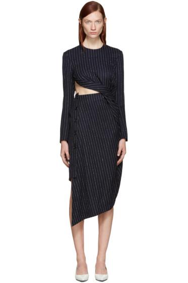 Acne Studios - Navy Pinstriped Elvira Dress