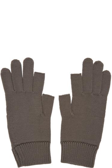 Rick Owens - Grey Knit Gloves