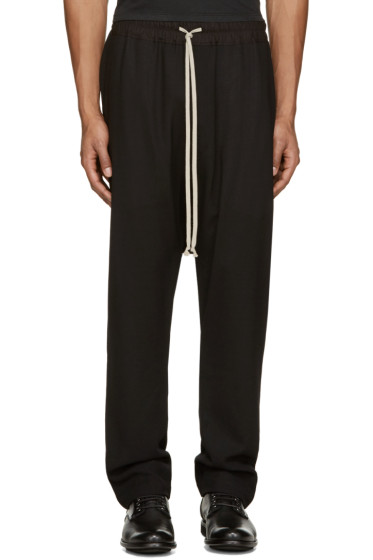 Rick Owens - Black Wool Mesh Lounge Pants