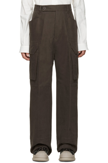 Rick Owens - Grey Wide-Leg Cargo Trousers