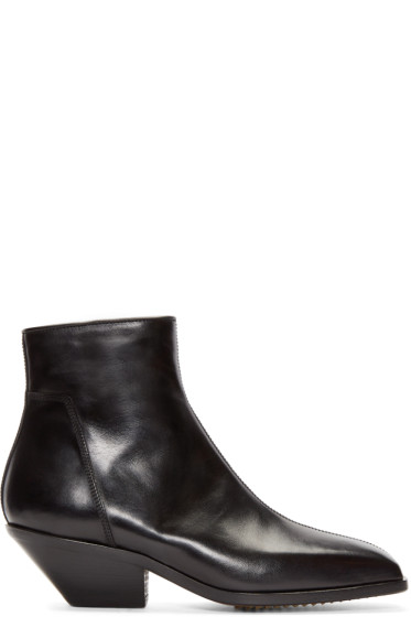 Rick Owens - Black Leather Zip Berger Boots