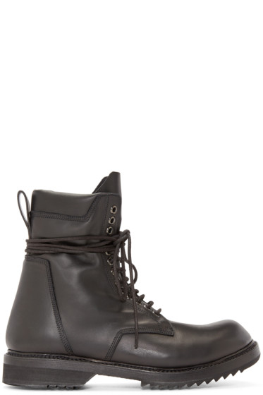 Rick Owens - Black Leather Lace-Up Army Boots