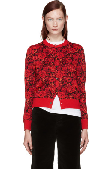 Comme des Garçons - Red Wool Floral Cardigan