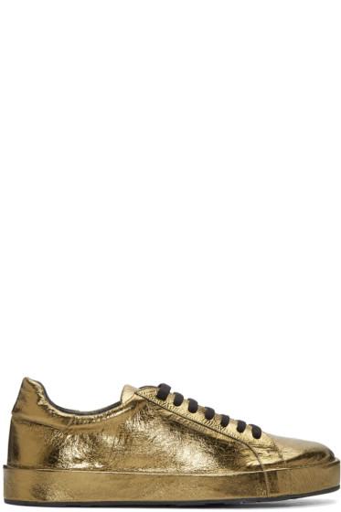 Jil Sander - Gold Metallic Leather Sneakers