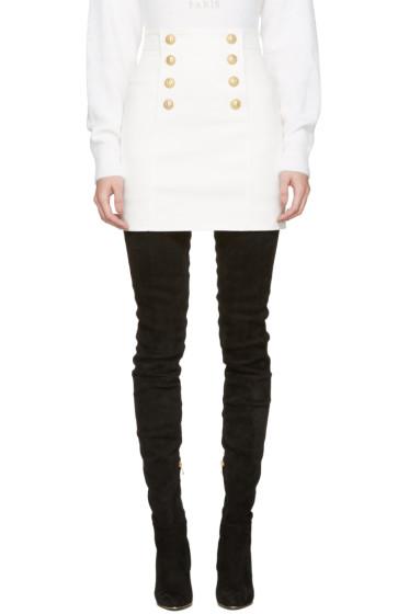 Balmain - White Buttoned Miniskirt