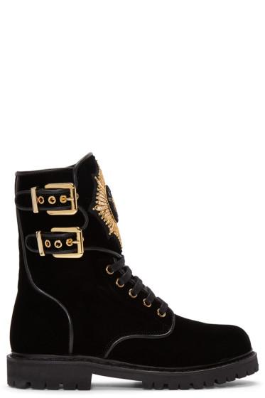Balmain - Black Velvet Eagle Combat Boots