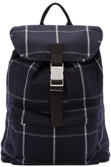 A.P.C. - Navy Wool Plaid Snap-Buckle Backpack