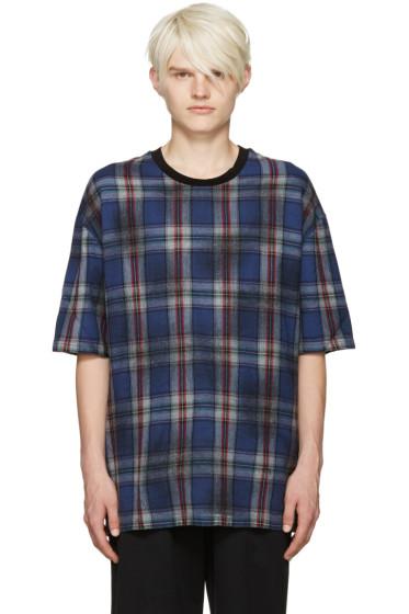 Lanvin - Blue Wool Plaid T-Shirt