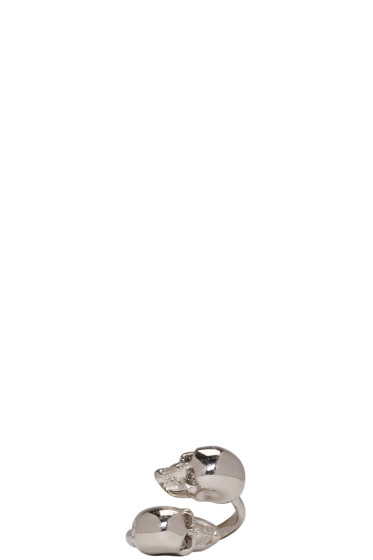 Alexander McQueen - Silver Twin Skull Ring