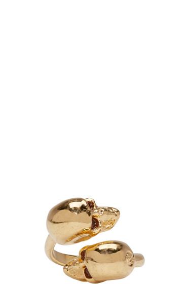 Alexander McQueen - Gold Twin Skull Ring
