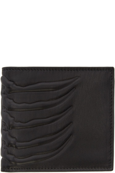 Alexander McQueen - Black Leather Rib Cage Wallet