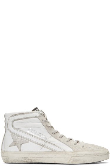 Golden Goose - White & Silver Glitter High-Top Sneakers
