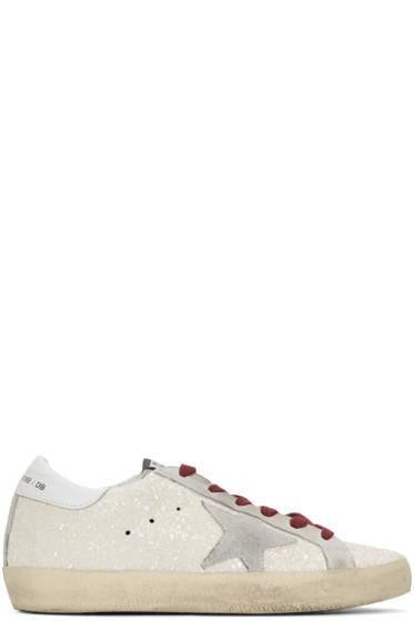 Golden Goose - White Glitter Superstar Sneakers
