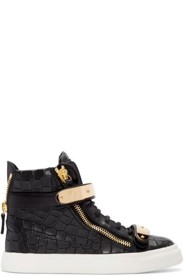 Giuseppe Zanotti - Black Croc-Embossed London High-Top Sneakers